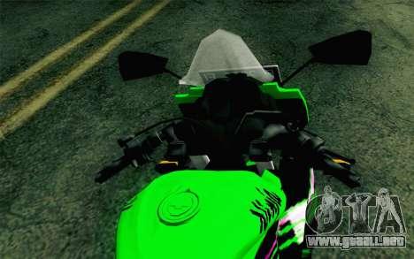 Kawasaki Ninja 250RR Mono Green para la visión correcta GTA San Andreas