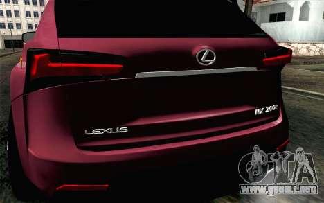 Lexus NX 200T v3 para GTA San Andreas vista hacia atrás