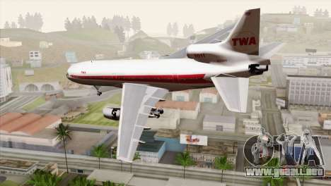 Lookheed L-1011 TWA para GTA San Andreas left