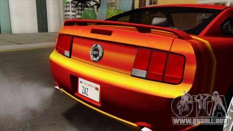 Ford Mustang GT PJ para GTA San Andreas vista hacia atrás