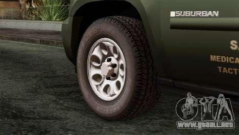 Chevrolet Suburban National Guard MedEvac para GTA San Andreas vista posterior izquierda