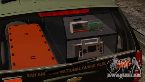 Chevrolet Suburban National Guard MedEvac para GTA San Andreas vista hacia atrás