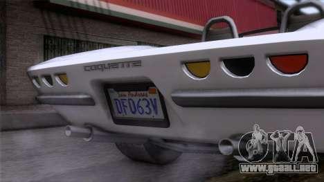 GTA 5 Invetero Coquette Classic TL para GTA San Andreas vista hacia atrás