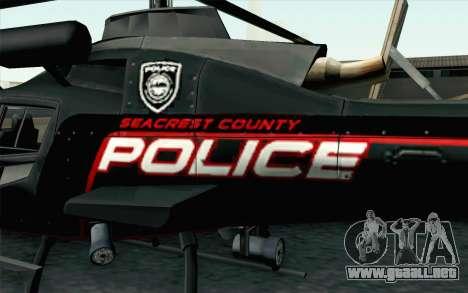 NFS HP 2010 Police Helicopter LVL 3 para la visión correcta GTA San Andreas