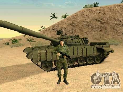 Tanque T-72B para GTA San Andreas vista posterior izquierda