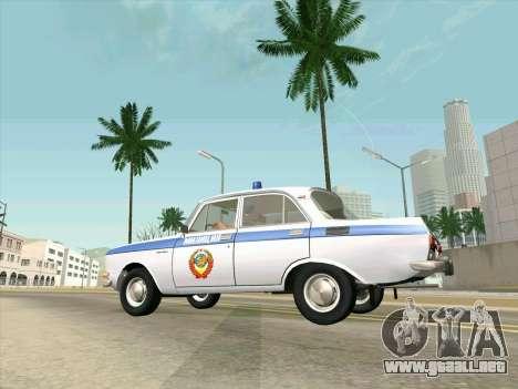 Moskvich 2140 Policía para GTA San Andreas vista hacia atrás