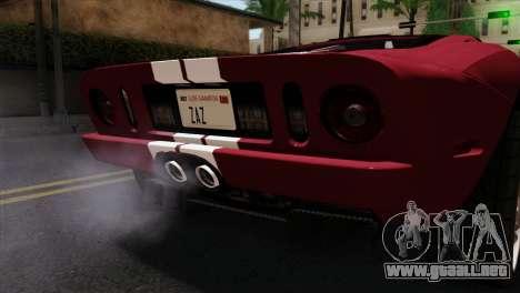 Ford GT FM3 Rims para GTA San Andreas vista hacia atrás