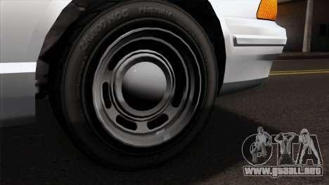GTA 5 Vapid Stanier Sheriff SA Style para GTA San Andreas vista posterior izquierda