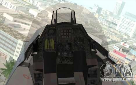 F-16 Osean Air Defense Force para GTA San Andreas vista hacia atrás