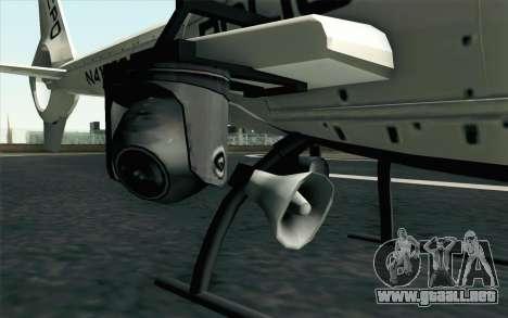 NFS HP 2010 Police Helicopter LVL 1 para GTA San Andreas vista posterior izquierda