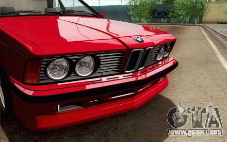 BMW M635CSI E24 1986 V1.0 para la visión correcta GTA San Andreas
