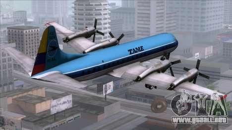 L-188 Electra TAME para GTA San Andreas left