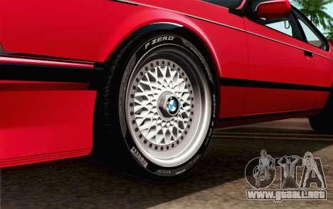 BMW M635CSI E24 1986 V1.0 para GTA San Andreas vista posterior izquierda