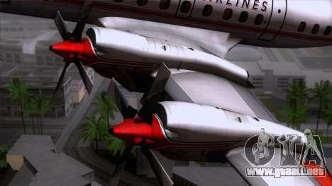 L-188 Electra American Als para GTA San Andreas vista hacia atrás