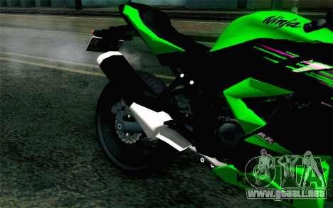 Kawasaki Ninja 250RR Mono Green para GTA San Andreas vista hacia atrás
