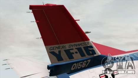 YF-16 Fighting Falcon para GTA San Andreas vista posterior izquierda