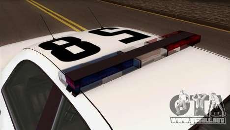 GTA 5 Vapid Stanier Sheriff SA Style para GTA San Andreas vista hacia atrás