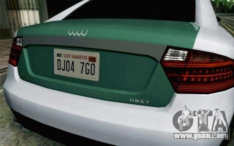 GTA 5 Obey Tailgater v2 IVF para GTA San Andreas vista hacia atrás