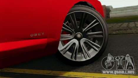 GTA 5 Obey Tailgater para GTA San Andreas vista posterior izquierda