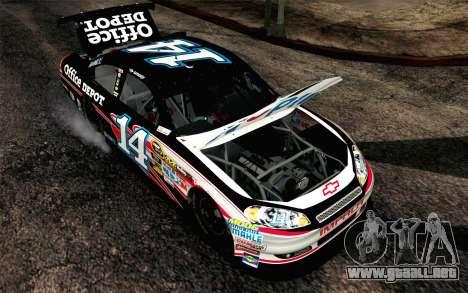 NASCAR Chevrolet Impala 2012 Plate Track para GTA San Andreas vista hacia atrás