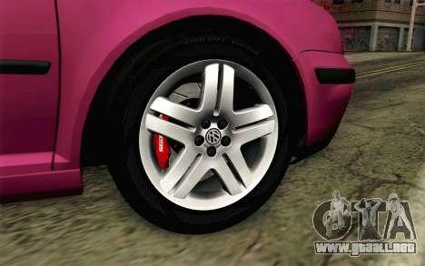 Volkswagen Golf v5 Stock para GTA San Andreas vista posterior izquierda