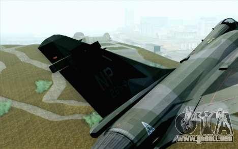 Dassault Mirage 2000 ISAF para GTA San Andreas vista posterior izquierda