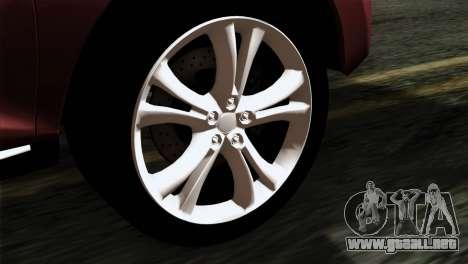 Nissan Murano 2008 para GTA San Andreas vista posterior izquierda