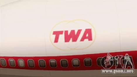 Lookheed L-1011 TWA para GTA San Andreas vista hacia atrás