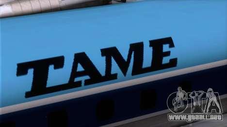 L-188 Electra TAME para GTA San Andreas vista hacia atrás