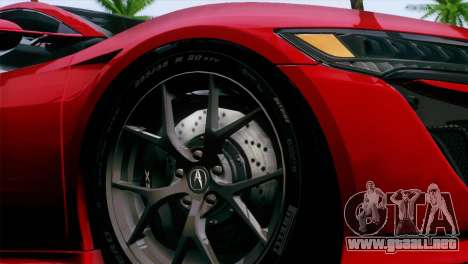 Acura NSX 2016 v1.0 JAP Plate para la visión correcta GTA San Andreas