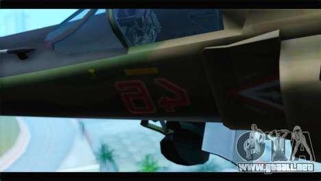 MIG-23ML Yuktobanian Air Force para GTA San Andreas vista hacia atrás