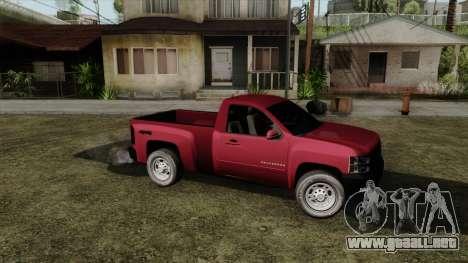 Chevrolet Silverado Cabina Sencilla para GTA San Andreas vista posterior izquierda