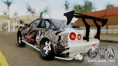 Nissan Skyline GTR34 Tokage para GTA San Andreas vista posterior izquierda