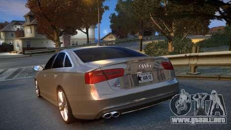 Audi S6 v1.0 2013 para GTA 4 Vista posterior izquierda
