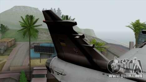 Saab 39 Gripen Custom Indigo Squadron para GTA San Andreas vista posterior izquierda