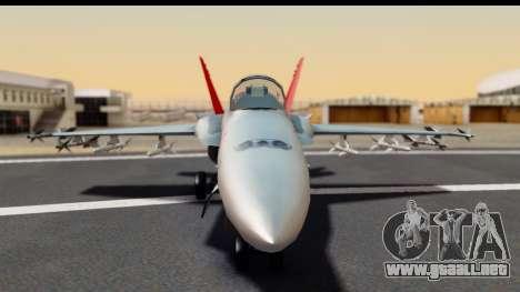 McDonnell Douglas FA-18C Hornet VMFA-232 USMC para GTA San Andreas vista hacia atrás