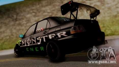 Mitsubishi Lancer Evo IX Monster Energy para GTA San Andreas left