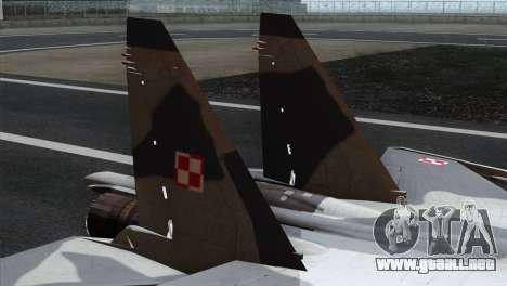SU-37 Flanker-F Polish Air Force para GTA San Andreas vista posterior izquierda