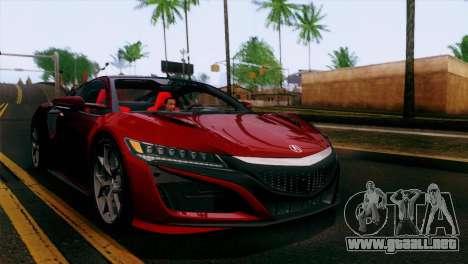 Acura NSX 2016 v1.0 JAP Plate para GTA San Andreas interior