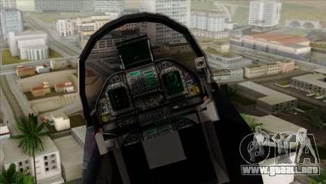 FA-18 HARV para GTA San Andreas vista hacia atrás