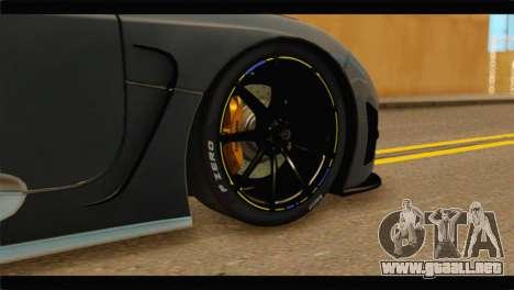Koenigsegg Agera R 2011 Stock Version para GTA San Andreas vista posterior izquierda
