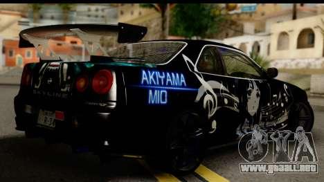 Nissan Skyline GT-R BNR34 Mio Akiyama Itasha para GTA San Andreas left