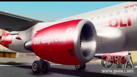Airbus A320-200 OLT Express para GTA San Andreas vista hacia atrás