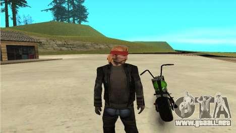 Zombie para GTA San Andreas vista posterior izquierda