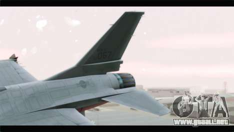 F-16A Republic of Korea Air Force para GTA San Andreas vista posterior izquierda