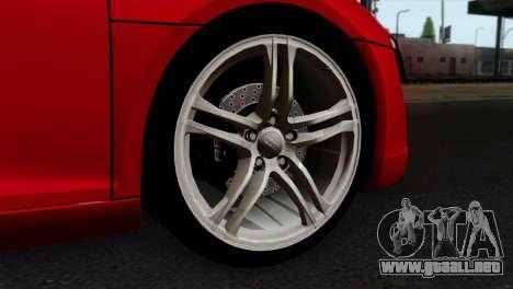 Audi R8 v2 para GTA San Andreas vista posterior izquierda