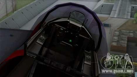 Eurofighter Typhoon 2000 para GTA San Andreas vista hacia atrás