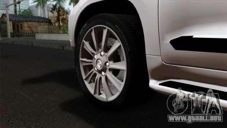 Lexus LX570 2011 para GTA San Andreas vista posterior izquierda