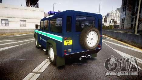 Land Rover Defender Policia GNR [ELS] para GTA 4 Vista posterior izquierda
