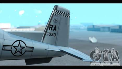Beechcraft T-6 Texan II US Air Force 3 para GTA San Andreas vista posterior izquierda